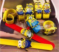 Wholesale Despicable Big - Despicable Me slap watch 3D Cartoon Big Eyes Yellow minion Precious Milk Dad Children Kids Gifts Slap Watch Wristwatch 558