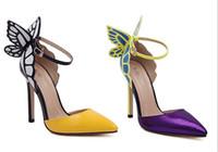 schmetterling high heel schuhe großhandel-HEISS !!! Neue Sophia Webster dreidimensionale Fantasie der Schmetterling, der hohe Absätze für Schuhe der Frauen Stilett-Heels 11.5cm zusammenbringt freies Verschiffen