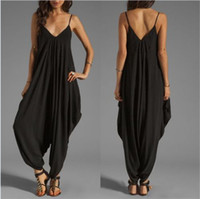 Wholesale Low V Neck Jumpsuits - Sexy Low-Cut V-Neck Harness Jumpsuits Loose Rompers Beach Leisure Loose Piece Pants Loose Casual Pants QH1047
