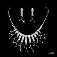 Wholesale Crystal Earrings For Sale - Hot Sale Holy Rhinestone Crystal Flower Earring Necklace Set Bridal Party Lobster Clasp Cheap Jewel Sets for Prom Evening Women 15021