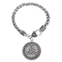 My Shape Wiccan Jewelry Trinty Knot Zinc Alloy Antique Silver Plateado One Side Pulseras colgantes para hombre y mujer