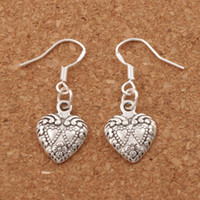 Wholesale double heart silver earrings - Double Dots Hearts Earrings 925 Silver Fish Ear Hook 40pairs lot Antique Silver Chandelier E907 11.5x32mm