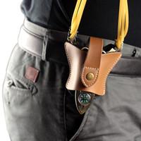 Wholesale Slingshots Pouch - Bat Design Genuine Leather Hunting Slingshot Pouch Bag Case Catapult Belt Holster Open Bottom