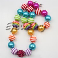 Wholesale Rainbow Chunky Necklace - fashion jewelry Multicolor stripe beads necklace Rainbow rhinestone beads chunky bubblegum necklace&bracelet set CB737
