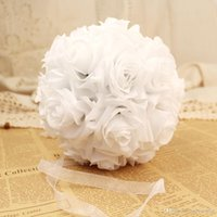 Real Rouch 5pcs / lot 25cm Seda Rose Pomander Flower Ball Decoração de casamento nupcial Favor Party Beijar Bolas Wedding Garden Home Bouquet