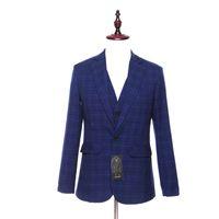 patrón de chaqueta de lana para hombre al por mayor-Nuevo Mens Blazers Casual Chaqueta de Dos Botones Azul Plaid Patrón de Lana Delgado Smoking Business Wedding Mens Traje de la Capa Tamaño XS-4XL Personalizado