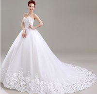 Wholesale Charming Organza Wedding Dresses - Charming A Line White Wedding Dress Sweetheart Neckline Cap Sleeve Lace Court Train Wedding Gowns robe de mariage In Stock