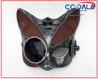 Wholesale Unique Animal Masks - NEW DESIGNED STEAMPUNK MASK, UNIQUE CAT SHAPE, LUXURY COMBINES BROWN GREY COLOR,ANIMAL METAL MASK,1LOT=144PCS