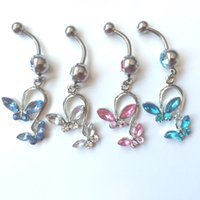 Wholesale Navel Ring Bowknot - 0053 bowknot style clear,pink COLORS Belly Button ring Navel Rings Body Piercing Jewelry Dangle Accessories Fashion Charm 10PCS