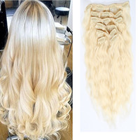 Fashion Hair Products 7Pieces / Set Clip In Hair Extensions Water Wave # 613 Bleach Blonde 70-220G Remy Hair 16-26 inch Facultatif