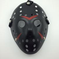 masken-killer-film großhandel-Schwarz-Rot Jason Maske Cosplay Full Face Killer Maske Jason vs Freitag Horror Hockey Halloween Kostüm Scary Maske kostenloser Versand