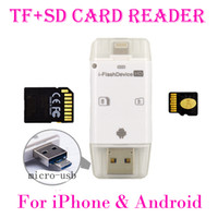 Wholesale usb multi sd card reader resale online - 3 in iFlash Drive USB Micro SD SDHC TF Card Reader Writer for iPhone5 s s plus ipad All Android Phones