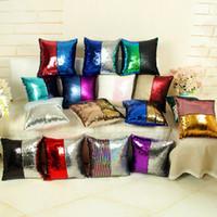 Wholesale Rainbow Cars - Mermaid Pillow Case Two-tone Rainbow Magic Ariel Cushion Cover Sequins Bling Paillette Car Sofa Cushion Cover Christmas Gifts Pillowcase