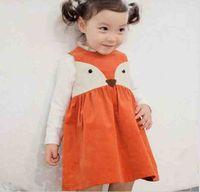 Wholesale Sweet Kids Girls Dresses - 2016 Sweet Kids Girls Fox Style Casual Dresses Sleeveless Spring Summer Fall Baby Dresses Orange Color Dress