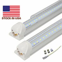 Wholesale Long Led Lights - LED Tube Light 4ft 8ft V-Shaped Integrated LED T8 Tube Light 4 5 6 Foot Long LED Light Tubes AC85-265V