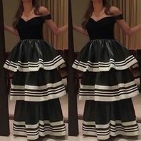 Wholesale little white dress pockets - 2016 Simple White Black Evening Dresses Off Shoulder A-line Puffy Layers Skirts Sleeveless Elegant Floor Length Prom Gowns