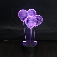 Wholesale Cartoon Wedding Gift - 3D creative gift led Lamp 7 Color Changeable Light Atmosphere Magic Balloon USB Design Night Lights