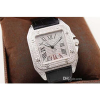 Wholesale Time Diamonds Watches - 2016 Free Shipping Luxury Brand Silver Diamond Dial Black Leather ens Whatches White Stainless Pointer Watch Womens Fashion Wrist Watches