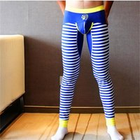 Wholesale Tights Men Thin - Wholesale-Men long johns mens warm pants thin elastic line of men's fashion cotton sexy gay underwear tight legging long Johns