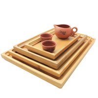 Wholesale Pallet kung fu tea bamboo saucer fruit plate tea tray bandeja decorativa decoration storage tray vintage tabuleiro sizes