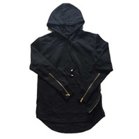 Wholesale Gothic Men Clothing - Wholesale-Hip hop Streetwear Skateboard Hoodies Men Double Side Zippers Swag Fashion Swag Hooded Black White Punk Gothic Rock Clothing XL