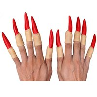Wholesale Witch Nails - Wholesale-10pcs Halloween Zombies Red finger Witches ghost finger nail wholesale Black Halloween Fingers For Carnival