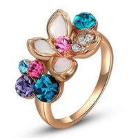 Wholesale Multi Color Stone Rings - 2017 New jewelry Ladies Rose Gold Plated Flower Multi-color Austrian Crystals Ring US Size 6 7 8 C00338