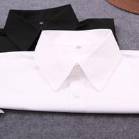 falsche kragenbaumwolle großhandel-Großhandel-Fake False Collar Damen Bluse Weiß Feste Baumwolle Abnehmbarer Kragen Schwarze Männer weibliche Krawatte Revers Damen Dekor Gefälschte