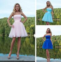 Wholesale Short Modest Homecoming Dress - 2016 modest bridesmaid dresses cheap strapless homecoming dresses zipper back junior dresses tulle a line dress short party dresses
