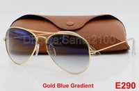 Wholesale Yellow Sunglasses Lenses - 1pcs Top Fashion Brand Pilot Sunglasses Designer Sun Glasses For Men Women Gradient Alloy Metal Gold Blue Glass Lens 58mm Original Case Box