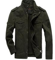 Wholesale Casual Cargo Jacket - Mens Green Khaki 3 Colors Military Jacket Winter Cargo Plus Size M-XXXL 5XL 6XL Casual Man Jackets Army Outdoors Clothes Brand
