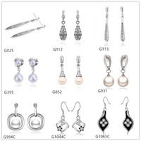 Wholesale Gemstone Pearl Dangle Earrings - 10 pairs mixed style women's drop pearl diamond crystal gemstone 18k white gold earring GTG1,wholesale white gold Dangle earrings