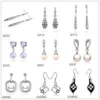 Wholesale Pearl Gemstones - 10 pairs mixed style women's drop pearl diamond crystal gemstone 18k white gold earring GTG1,wholesale white gold Dangle earrings
