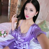 Wholesale Sexy Piece Pajamas - Female Summer Pajamas Nightdress Sexy Pajamas Loose Silk Two Piece Silk Silk Clothing Home Furnishing Extreme Temptation