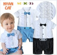 Wholesale Infant Boys Bowtie Rompers - 2016 Summer Infant Baby Lace Rompers Toddler Boys Gentleman Style Romper Newborns Short Sleeve Jumpsuits With Bowtie Babies Clothes 6pcs lot