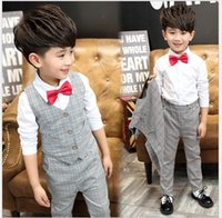 Wholesale Spring Bow Coat - Fashion Boys Gentleman Sets 2016 Big Boy Spring Clothes Sets Plaid Vest+Shirt+Pants+Bowtie 4pcs Kids Outfits Children Clothing Suit 110-150