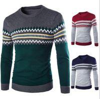 Wholesale british knitting wool for sale - Plus Size British Men Winter Sweater Round Neck Geometric Pullover Knitwear For Men Wild Chirimas Style Casual Men Sweater J161007