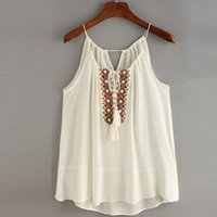 Wholesale Wholesale Embroidered Tank Tops - Wholesale-Sexy Tank Tops Women Tasselled Drawstring Neck Embroidered Cami Top Summer Tops Cropped Feminino