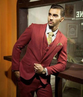 Wholesale Classy Winter Jackets - Best Man Suits Mens Wedding Suits Gentlemen Dark Red Custom Tailor Classy and Different Banquet Essential Men's Suits (Jacket+Pants+Vest)