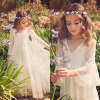 Wholesale Vintage Christmas Formals - Vintage Full Lace Flower Girl Dresses for Wedding Beach Garden Bohemian V Neck Illusion Flare Sleeves Lace Kids Formal Gowns Custom Made
