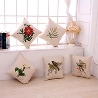 Wholesale vintage pillows bird for sale - Group buy New flower and bird Vintage Home Decor Cotton Linen Pillow Case Sofa Throw Cushion Cover Square New