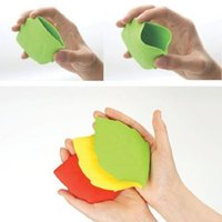 Atacado - Traveling Outdoor Leaf Shaped Silicone Cup Water Cup 1 peça Verde / Rosa