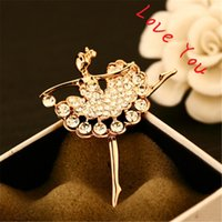Wholesale Gold Ballerina - Elegant Ballerina Brooches Fashion Gold Plated Vintage Crystal Brooch Pins for Women Statement Brand Chunky Jewelry bijoux
