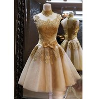 Wholesale Golden Party Dresses - 2016 Lovely Golden Cocktail Dresses A-Line High Neck Ribbon Floral Appliques Sheer Back Short Homecoming Party Gowns