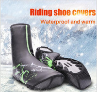 Wholesale Overshoes For Cycling - New winter PU waterproof cycling shoe covers bicycle warm overshoes fundas riding equipment for MTB mountaint road bike