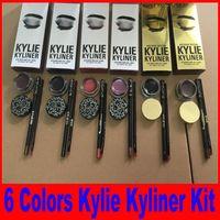 Wholesale Pot Cosmetic Cream - Kylie Cosmetics brithday edition kylie kyliner eyeliner and gel Gel pot Brush liner 6 types black  brwon chameleon bronze