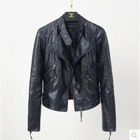 Wholesale Korean Leather Winter Jackets - Motorcycle jacket thick PU leather female short autumn and winter 2016 Korean version of the new slim leather jacket small coat Q 13