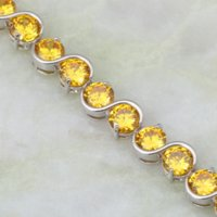 Glam Luxe Mysterious Sterling or Overlay citrine Bracelets Bangles CZ jaune Pierres B069 Charm Bracelets