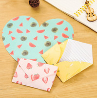 Wholesale Double Sided Stationery Tape - Wholesale-4 pcs pack Creative Fruit Pattern Hearts Shaped Letter Paper Envelope Letter Pad Gift Stationery School Office Supply