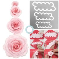 Wholesale Rose Petal Cutters - Cake Rose Petal Flower Cutter Fondant Icing Tool Sugarcraft Decor Mould 3 Size